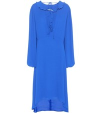 Balenciaga Swing Collar Frill Dress Blue