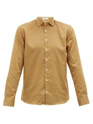 Etro Mosaic Print Cotton Poplin Shirt Yellow Multi
