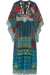 Anna Sui Embellished Silk Blend Chiffon And Cotton Maxi Dress Blue