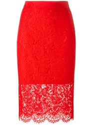 Diane Von Furstenberg Floral Lace Pencil Skirt Red