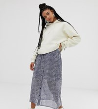 Daisy Street Button Front Midi Skirt In Vintage Floral Grey