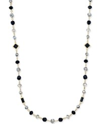 Charter Club Gold Tone Jet And Clear Bead Long Length Necklace Only At Macy's