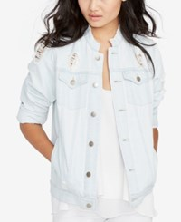 Rachel Roy Ripped Denim Jacket Created For Macy's Super Light Wash