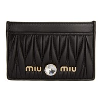 Miu Miu Black Matelasse Leather Card Holder