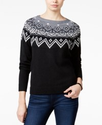 Hooked Up By Iot Juniors' Rhinestone Fair Isle Sweater Black Silver