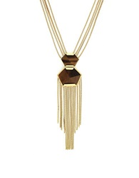 Vince Camuto Tigers Eye Double Pendant Necklace Gold