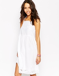 Oysho Embroidered Lace Detail Beach Dress White