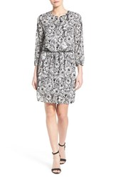 Women's Nydj 'Lauren' Print Pleat Back Fit Solution Blouson Dress Fleetwood