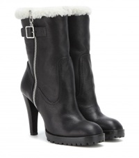 Alexander Mcqueen Shearling Lined Leather Boots Black