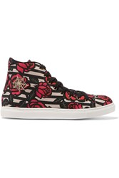 Charlotte Olympia Printed Canvas High Top Sneakers Pink