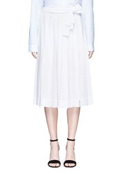 Cedric Charlier Pleated Broderie Anglaise Midi Skirt White