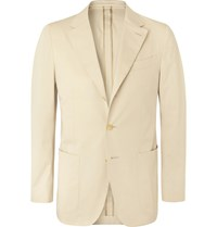 Caruso Light Beige Butterfly Cotton Blend Suit Jacket Neutrals