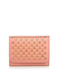 Christian Louboutin Macaron Mini Studded Leather Wallet Black Gunmetal Rose Gold