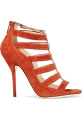 Jimmy Choo Cutout Suede Sandals Bright Orange