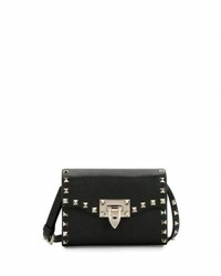 Valentino Small Rockstud Flap Shoulder Bag Black