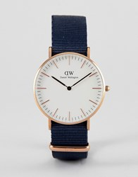 Daniel Wellington Bayswater Watch In Rose Gold With Canvas Strap 36Mm Navy