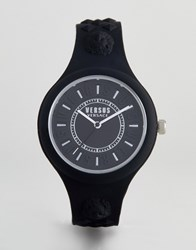 Versus By Versace Fire Island Vspoq2018 Bicolour Silicone Watch In Black 39Mm
