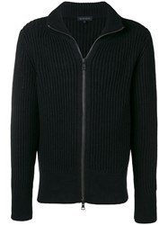 Ann Demeulemeester Rib Knit Zipped Sweatshirt Black