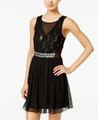 Amy Byer Bcx Juniors' Sequined Lace Illusion Fit And Flare Dress Black Silver