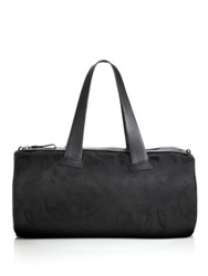 Alexander Mcqueen Skull Print Jacquard And Leather Duffel Bag Black