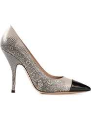 Giorgio Armani Contrasting Toe Cap Pumps Nude And Neutrals