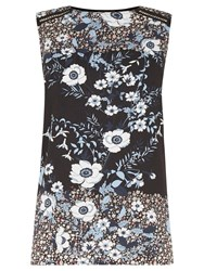 Warehouse Floral Placement Shell Top Black Multi
