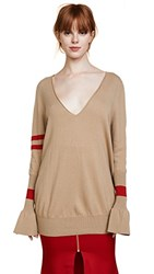 Maggie Marilyn Hold Your Own Boyfriend Sweater Camel