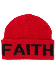 Faith Connexion Logo Intarsia Knit Beanie Red