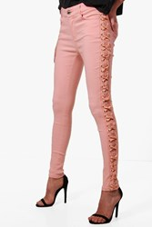 Boohoo Selma Side Lace Up Skinny Jeans Pink