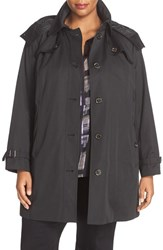 London Fog Plus Size Women's Single Breasted Trench Coat Black