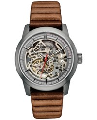 Kenneth Cole New York Men's Automatic Brown Leather Strap Watch 40X51mm 10030788