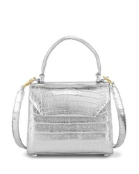 Nancy Gonzalez Crocodile Small Flap Top Handle Crossbody Bag Silver
