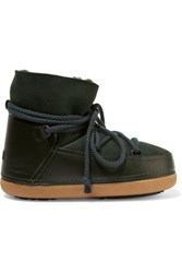 Inuikii Shearling Lined Leather And Suede Boots Emerald