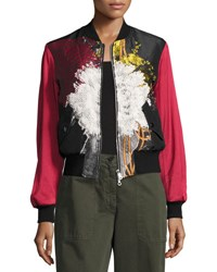 Dries Van Noten Villa Flocked Jacquard Bomber Jacket Black