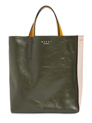 Marni Sm Museo Soft Smooth Leather Tote Mosstone