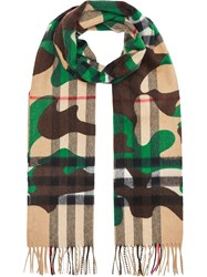 Burberry The Classic Camouflage Check Cashmere Scarf Nude And Neutrals