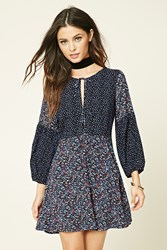 Forever 21 Fit And Flare Patchwork Dress