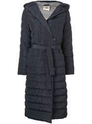 Semicouture Belted Quilted Coat Blue