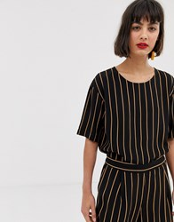 Selected Stripe Blouse Black