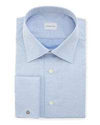 Ermenegildo Zegna Diagonal Stripe French Cuff Dress Shirt Blue