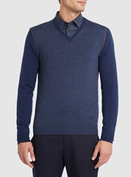 Armani Collezioni Navy Two Tone Raw Edges V Neck Sweater With Red Trim Blue