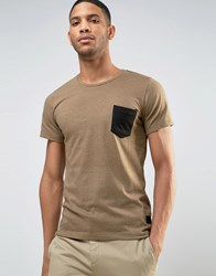 Casual Friday T Shirt With Patch Pocket Beige