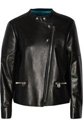 Sandro Vitaa Velvet Lined Leather Biker Jacket Black