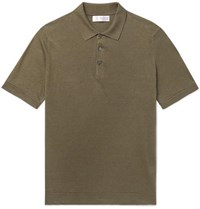 Brunello Cucinelli Slim Fit Linen And Cotton Blend Polo Shirt Army Green
