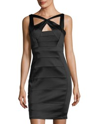Jax Stretch Satin Crisscross Bandage Dress Black