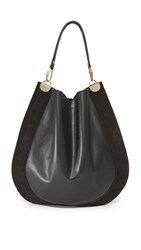 Diane Von Furstenberg Large Leather And Suede Hobo Bag Black
