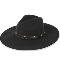 Sensi Studio Studded Wool Felt Fedora Hat Black