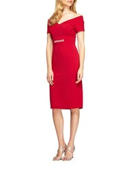 Alex Evenings Petite Off The Shoulder Embellished Waist Dress Red