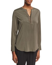 Brunello Cucinelli Long Sleeve Monili Placket Top Green