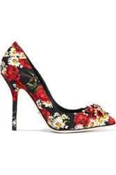 Dolce And Gabbana Crystal Embellished Floral Print Faille Pumps Red